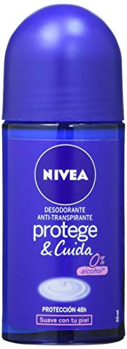 NIVEA Protege & Cuida Roll-on en pack de 6 (6 x 50 ml), desodorante antitranspirante con el aroma de NIVEA Creme, desodorante roll on con 0% alcohol
