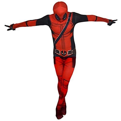 Niños Adultos Disfraz Niños Cosplay Deadpool Mono Medias De Halloween Trajes De Pascua Carnaval Body Fiesta Temática Onesies Lycra Spandex Zentai,Red-Adult/XL/180~185cm