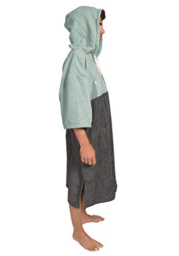Vivida Lifestyle Essentials Hooded Poncho Towel Changing Robe with Quickdry Fabric for Beach, Surf, Swim & Triathlon, Adult (M-L), Teal