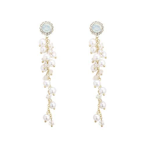 HMEI Dangle Earrings Flower Long Tassel Pearl Fashion Fashion Retro Party Bar Girl Or Women Dress Up(8.5cm/3.3in)