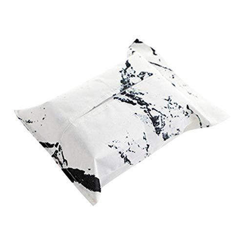 LYJ Tejido caja de pañuelos de almacenamiento caja titulares de tejido creativo de la caja del tejido de lino de algodón Negro Blanco mármol geométrico impresión plegable Servilletero forma rectangula