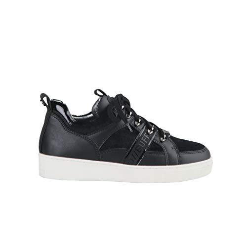 Buffalo Damen Sneaker Catcher, Frauen Low Top Sneaker, Halbschuh strassenschuh schnürschuh sportschuh Plateau-Sohle,Schwarz(Black),37 EU / 4 UK