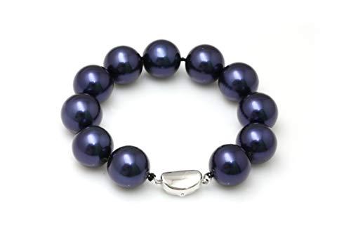 Schmuckwilli Muschelkernperlen Perlenarmband Perlen Armband blau Hochwertige 20cm mb4030-20 (16mm)