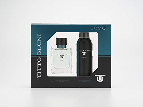 Titto Bluni, Uomo Estuche de Regalo para Hombre, Eau de Toilette 75 ml y Desodorante en Spray 200 ml