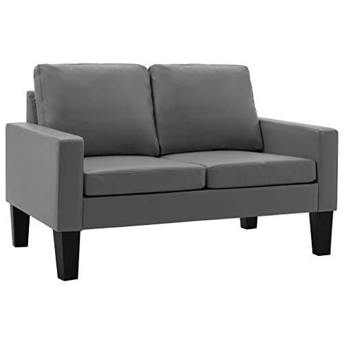 vidaXL Sofa 2-Sitzer Zweisitzer Loungesofa Ledersofa Polstersofa Sitzmöbel Polstermöbel Designsofa Wohnzimmersofa Grau Kunstleder Holzrahmen