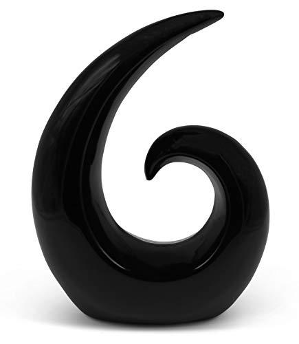 Elegante escultura de cerámica - decoración moderna en negro - espiral decorativa de 20 cm de altura - también adecuada para regalo