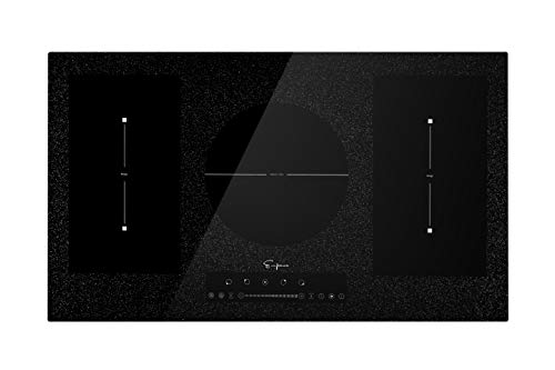 Empava - Placa de cocina eléctrica de inducción de 91,4 cm con 5 quemadores de refuerzo incluyendo 2 elementos de puente flexible y superficie lisa en negro, 91,4 cm 91.44 cm Negro IDCF9 5 quemadores.