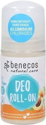 BENECOS Natural Deo-Roll-on Apricot & Elderflower - Parfum fruité et sucré - Sans sels d'aluminium - Laisse la peau souple - Efficace contre les odeurs 100% vegan - 50 ml