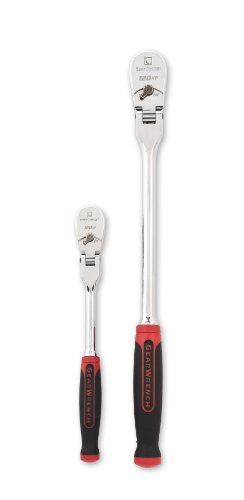 GEARWRENCH 2 Piece 1/4inch and 3/8inch Drive 120XP Flex Head Teardrop Ratchet Set, Dual Material - 81204P