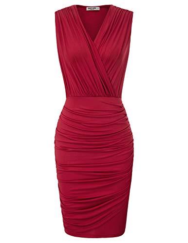 GRACE KARIN Women Sleeveless V-Neck Elastic Waist Wrap Solid Dress S Wine Red 1