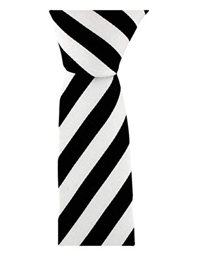 David Van Hagen Noir/Blanc maigre rayé cravate de