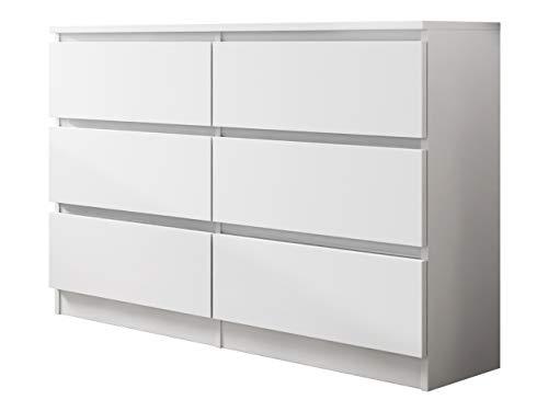 Kommode mit 6 Schubladen Malwa M6 120, Anrichte, Diele, Flur, Highboard, Mehrzweckschrank, Sideboard, Wohnzimmer, Esszimmer (Weiß)