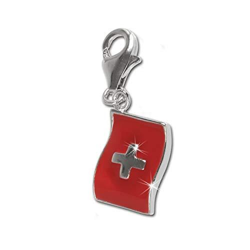 SilberDream Anhänger Charm Flagge Schweiz rot 925 Echt Silber Schmuck D2FC703 EIN schönes Geschenk zu Weihnachten, Geburtstag, Valentinstag für die Frau