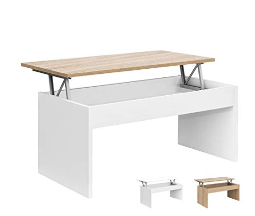Dormidán- Mesa de Centro Elevable MC-5, Comedor o Auxiliar, Mesita de Salon (Blanco Tapa Roble)