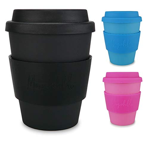 Morgenheld Dein trendiger Bambusbecher | Coffee-to-Go-Becher | Kaffeebecher mit Silikondeckel und Banderole in coolem Design 350ml - Just Black
