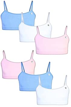 Limited Too Girls Seamless Training Sports Bra with Adjustable Straps 6-Pack Pink/White/Light Blue Medium/10-12