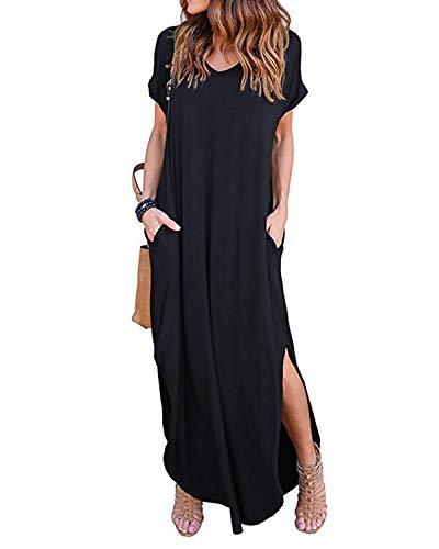 KIDSFORM Women Maxi Dress Side Split Casual Loose Pockets Sundress Short Sleeve Summer Beach T-Shirt Dress H-Black SizeXL