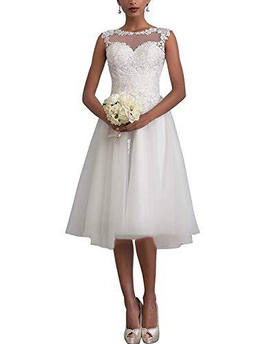 YASIOU hochzeitskleider weiß schlicht Strand Vintage Damen weiß Kurz A Linie Knielang Spitze tüll Hochzeitskleid Standesamt Brautkleid