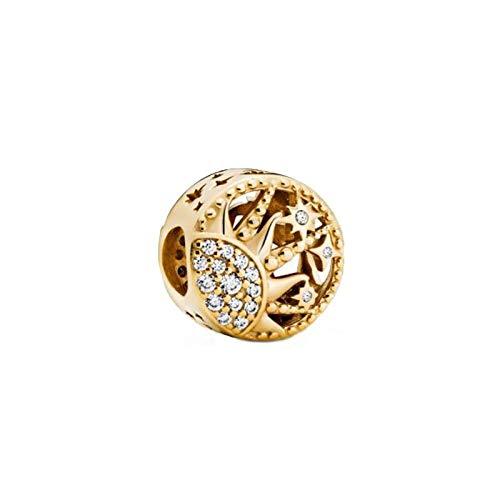 LISHOU DIY 925 Plata Esterlina Trendy Sun Openwork Charm Beads Fit Pandora Pulsera Collar para Mujeres Joyería Que Hace Regalo