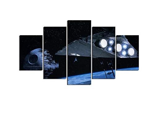 MSDEWLH Leinwanddrucke 5 Panels Gemälde Star Wars Todesstern Sternzerstörer Modern Home Wall Dekoratives Bild Art Hd Print-150x80cm