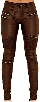 Faux Leather Pants for Women Sexy Stretchy Pu Leather Pleather Pants Leggings with Golden Zipper Brown Coffee US 2 4