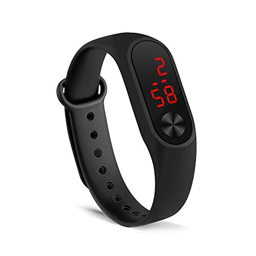 Unisex Sportuhr LED Digital Silikonband Kreative Handring Elektronische Uhr (Schwarz)