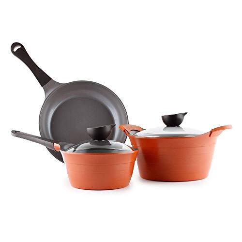Neoflam Eela 5-Piece Ceramic Nonstick Cookware Set in Orange Brown