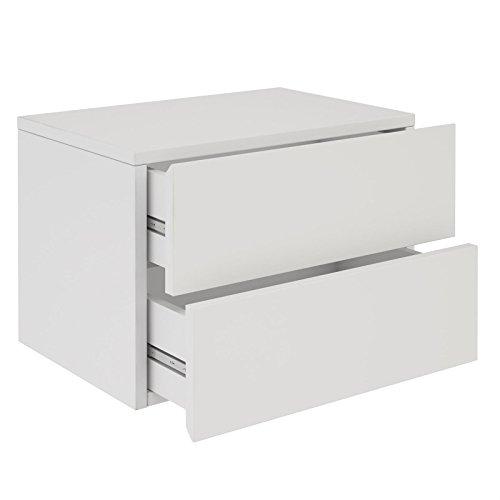 IDIMEX Chevet Suspendu Florent, étagère Murale avec 2 tiroirs sans poignée, en mélaminé Blanc Mat