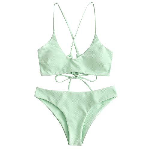 ZAFUL Damen Sommer Solide High Cut Spaghetti-Träger Beachwear Swimwear Grün M