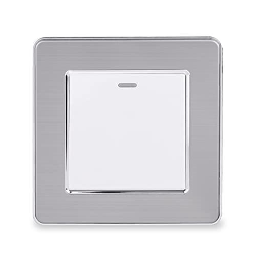 HLY-CASE 1 Gang 1 Way Rocker Light Interruptor Encendido/Apagado Interruptor de Pared Acero Inoxidable Panel Cepillado CA 12 a 250 V Diseño Elegante (Color : White)