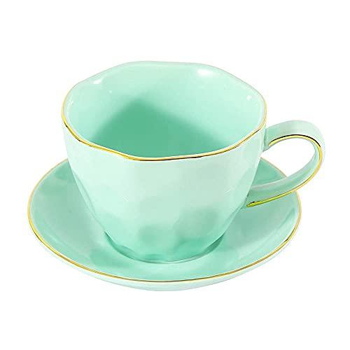 FHISD Taza de café Juego de platillo de Taza de té de Flores de cerámica Accesorios para cafetera Taza de café Espresso Latte Cappuccino Taza de Agua de Oficina en casa Taza de Jugo