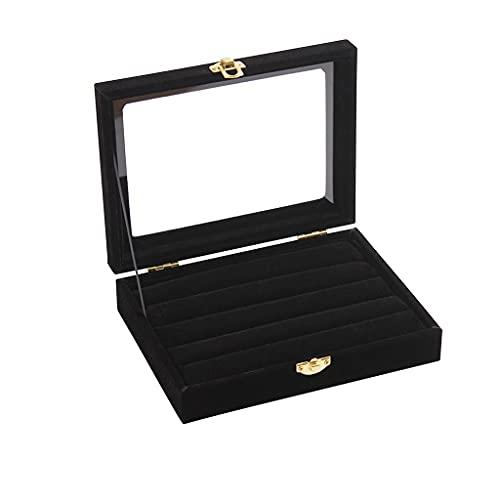 WYFDC Anillo de cristal de terciopelo para joyas, organizador de la bandeja de almacenamiento, caja de almacenamiento portátil joyero con cremallera