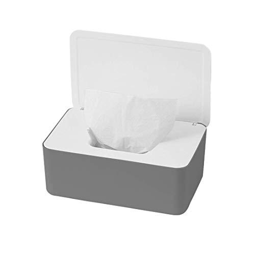 O-Kinee Feuchttüchter Box, Feuchtes Toilettenpapier Box, Feuchttücher Box Baby, Feuchttücher Aufbewahrungsbox, Kunststoff Feuchttücher Spender mit Deckel für Zuhause Büro, Grau und Weiß