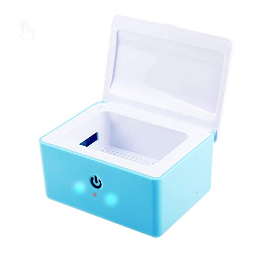 REAQER Portable Trockenbox Trockenstation zur Hörgeräte-Trocknung UV-C Licht - 99,9% Keimbeseitigung - Blau