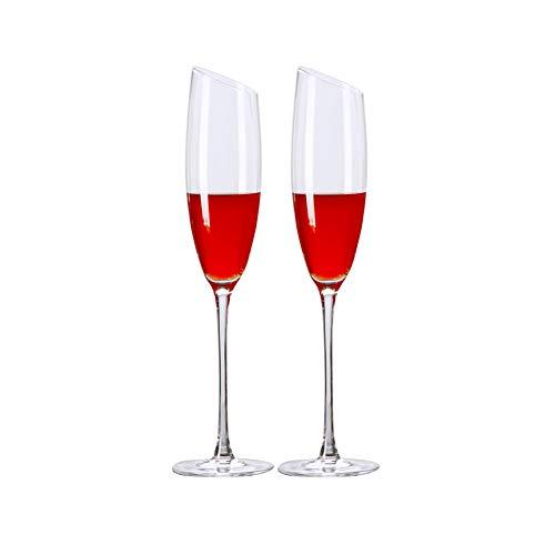 MIAO. Handgemaakte kristal glas schuine mond champagne glas mousserende wijnglas beker twee kopjes