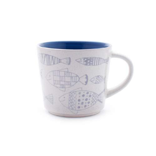Rghfn Taza de cerámica Infantil, Taza de Bebida de Pareja, Taza de café de la Oficina en casa, Taza de té, Taza de Leche, Taza de Cereal de Desayuno, pez pequeño 350 ml (Color : Blanco)