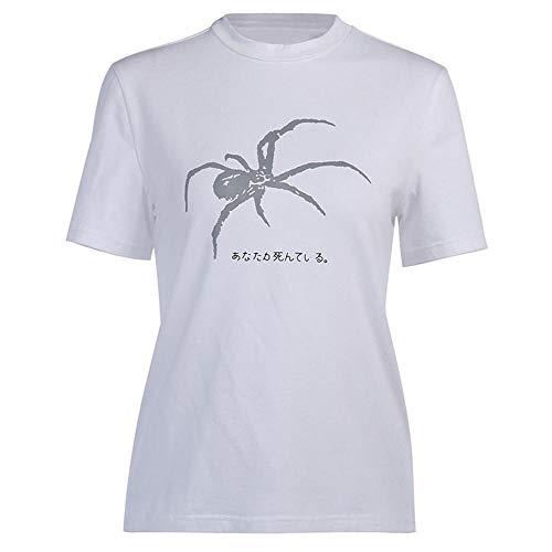 Reflexivo Araña Imprimir Mujeres Camiseta De Manga Corta Camiseta Floja del Cuello De O De La Vendimia De Harajuku Camiseta Elegante tee Streetweear Top Ylcxdm (Color : White, Size : Large)