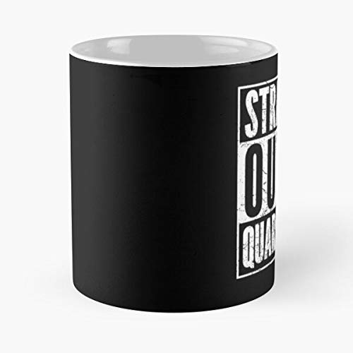 Straight Outta Quarantine Co-rona Saying Virus Crisis Classic Mug - Novelty Ceramic Cups 11oz, Unique Birthday And Holiday Gifts For Mom Mother Father.