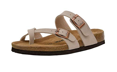 CUSHIONAIRE Women's Luna Cork Footbed Sandal with +Comfort, Stone,8.5