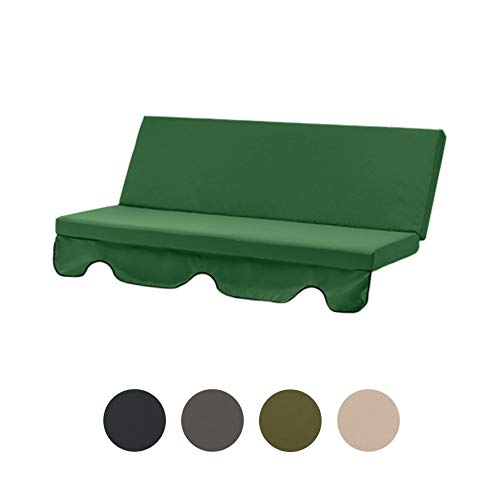 Gardenista Garden Swing Hammock Bench Replacement Cushion Seat | Outdoor Canopy Patio Furniture | Water Resistant | Soft & Comfortable | 3 Seater (Green)