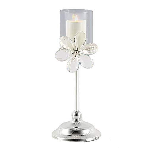 Bougeoirs Chandelier Argenté, en Cristal, Porte-Bougies Chauffe-Plat Luxe Rétro Living Room Home Romantic Lamp Decoration (Taille : S)