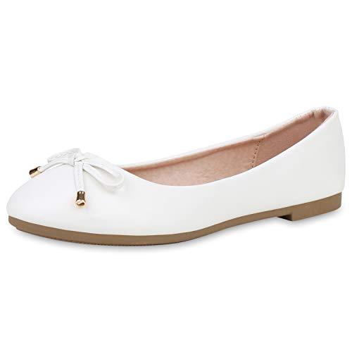 SCARPE VITA Damen Klassische Ballerinas Leder-Optik Schuhe Slip On Slipper Schleife Schlupfschuhe Flats 191457 Weiss Weiss Total 36