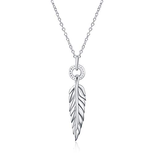 Necklace For Women Sterling Silver Long Chain Feather Pendant Necklace Jewellery Gifts