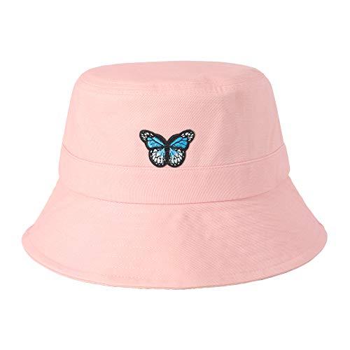 ZLYC Unisex Mode Bestickte Fischerhüte Sommerhut Outdoor-Hut Für Jugendliche (Schmetterling Rose),Gr. Einheitsgröße