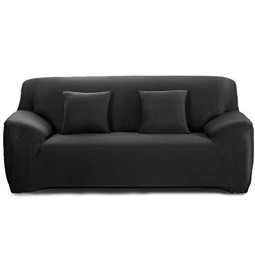 Feilaxleer Elastischer Sofabezug 1 Sitzer/2 Sitzer/3 Sitzer/4 Sitzer, Stretch Sofa-überwürfe Sofahusse für Sofa mit Armlehne (2 Sitzer,Schwarz)