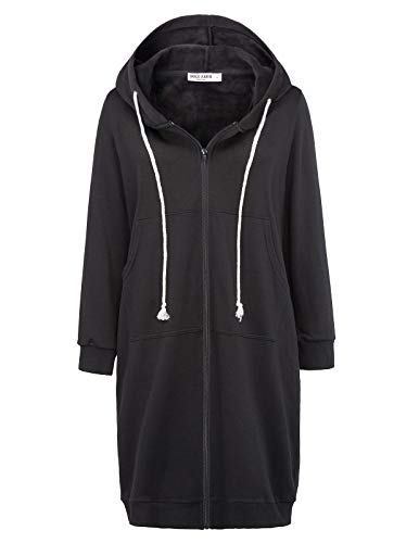Loose Pocket Zipper Fleece Tunic Sweatshirt Hoodies Outwear Black Size M CL133-1