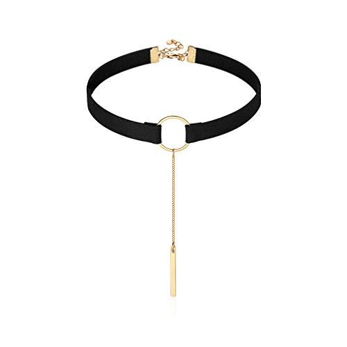 Joyas/Collares Collar del Collar Collar del Arco Nuevo de la Manera Fresca Animado Roca Collar de Terciopelo (Negro) de 14 Pulgadas Colgantes de Mujer