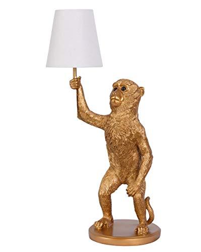 Tischlampe Monkey Lichtskulptur Tischlampe Affe Affenlampe Tierleuchte Gold 62cm cw231 Palazzo Exklusiv
