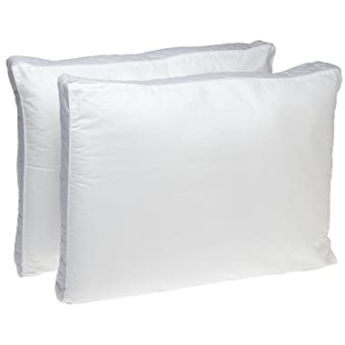 Perfect Fit Extra Firm Density Standard Size 233 Thread-Count Quilted Sidewall Pillow 2 Pack, White