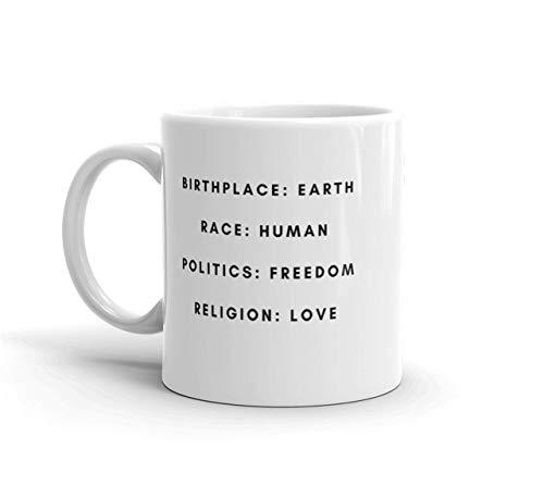 Taza de la tierra del lugar de nacimiento taza de tumblr cita de inspiración mensaje positivo taza de instagram lugar de nacimiento raza de la tierra política humana libertad relig 11oz